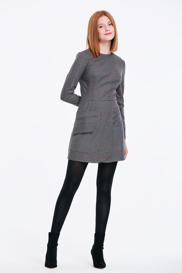 Wrap grey dress with a houndstooth print and a pocket photo 5 - MustHave online store