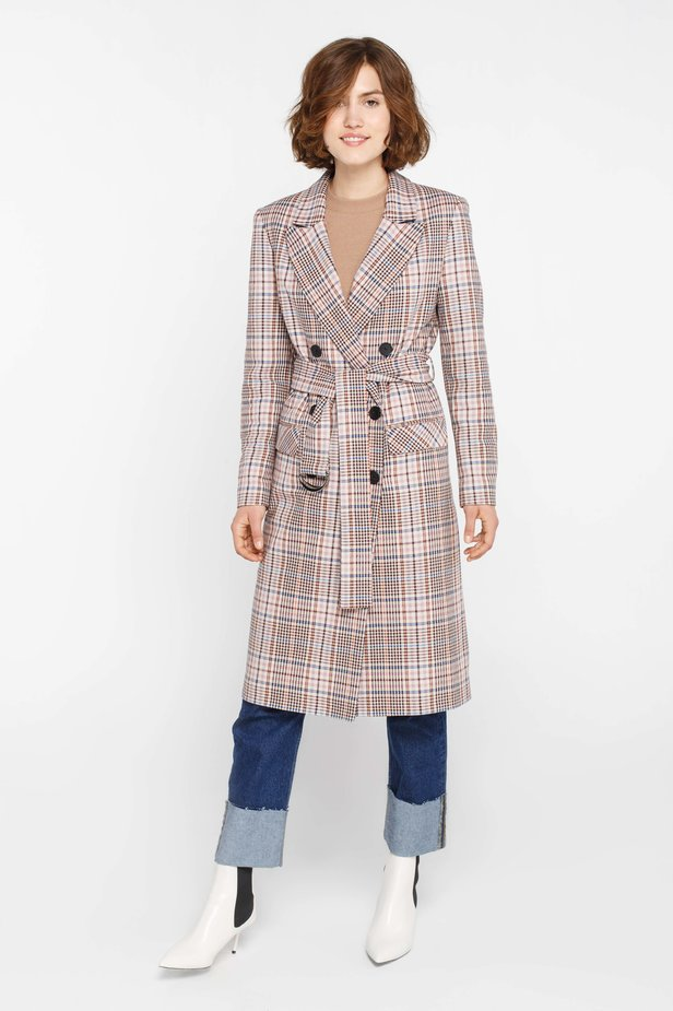 Beige plaid suit fabric trenchcoat photo 1 - MustHave online store