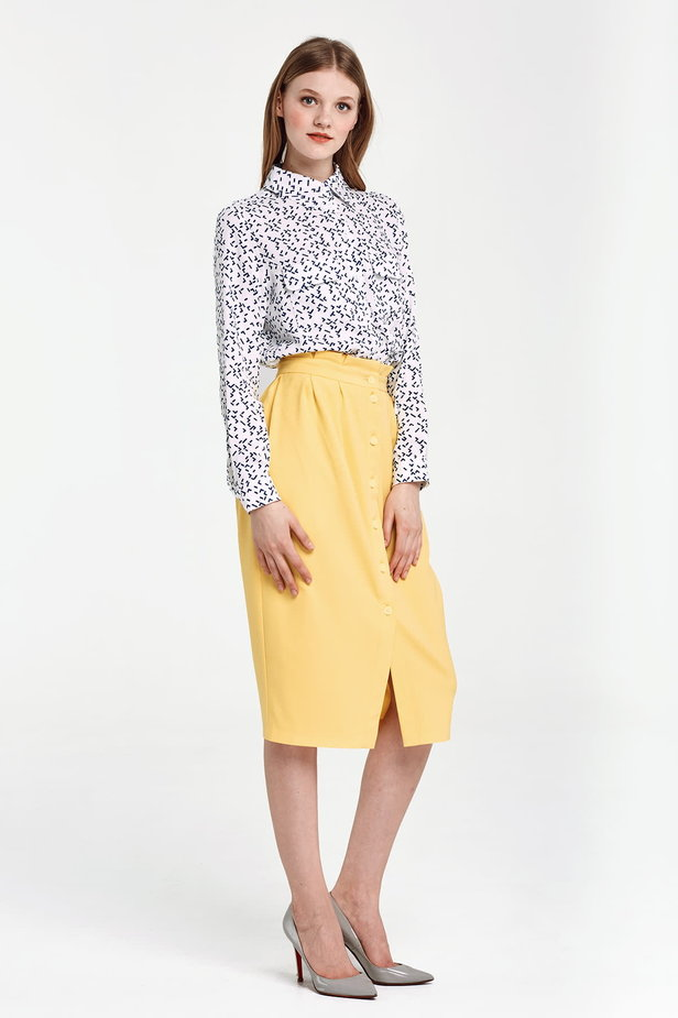 Yellow skirt with buttons and ruffles on the belt photo 5 - MustHave online store
