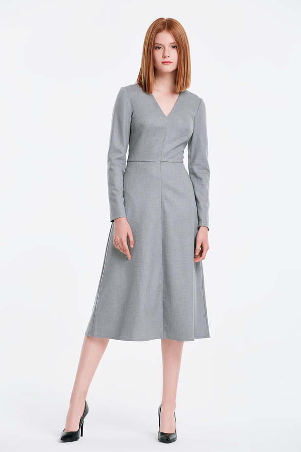 V-neck grey dress photo 5 - MustHave online store
