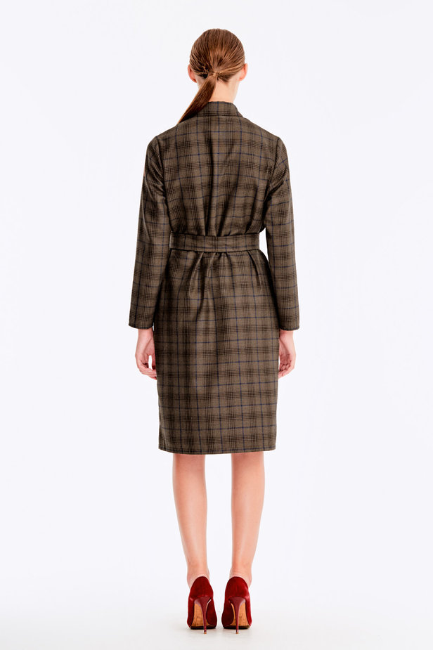 Brown dress with dark-blue check print photo 6 - MustHave online store