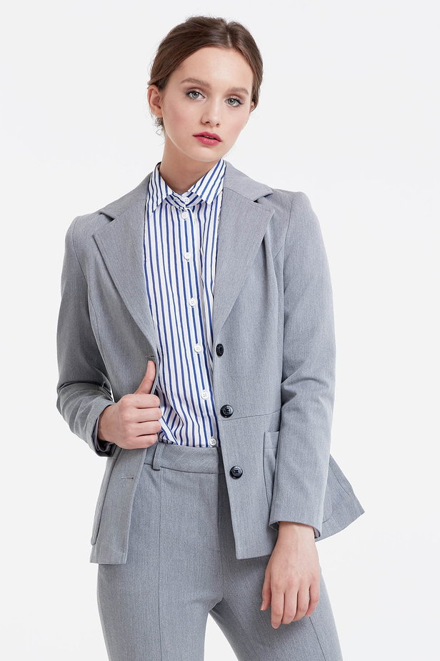 Grey jacket with patch pockets photo 1 - MustHave online store