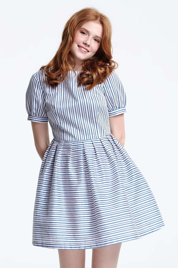 Mini dress with white and blue stripes photo 1 - MustHave online store