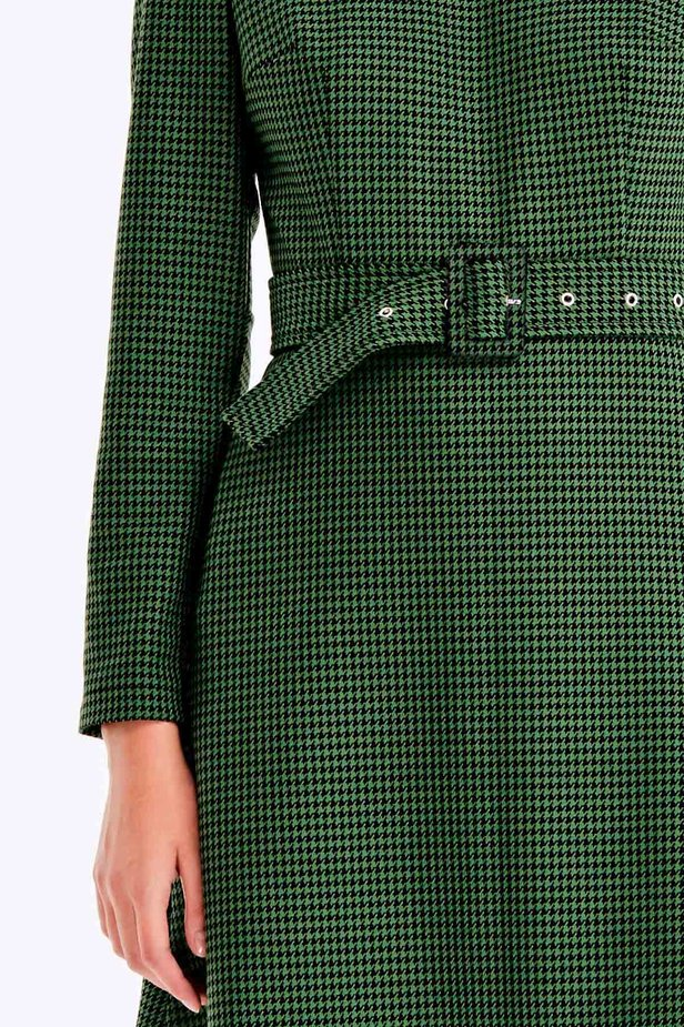 Green dress with a houndstooth print photo 2 - MustHave online store
