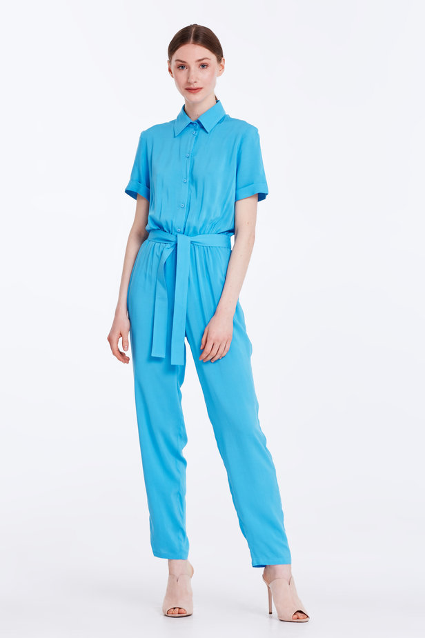 Blue jumpsuit with a shirt top photo 1 - MustHave online store