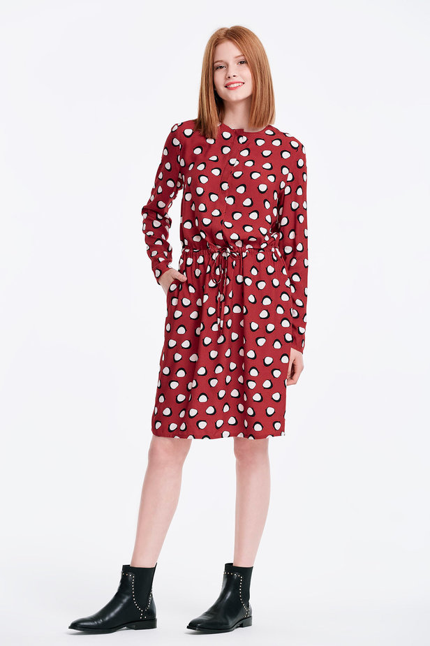 Red dress with ties, penguins print photo 4 - MustHave online store