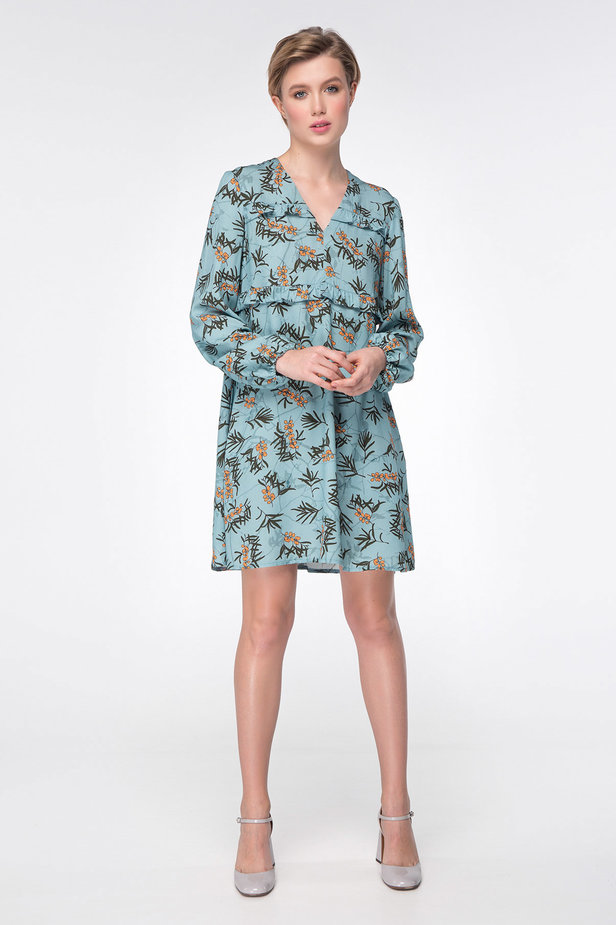 Blue dress with berry print photo 3 - MustHave online store
