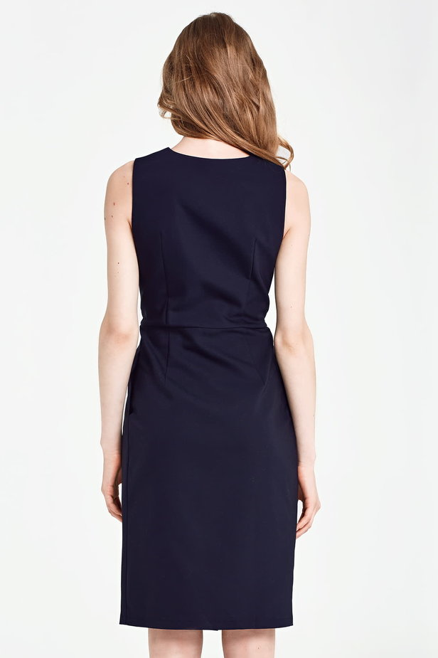 Dark blue column dress with buttons below the knee photo 3 - MustHave online store