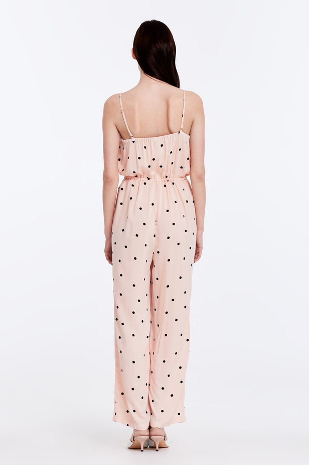Beige jumpsuit with a black polka dot print photo 4 - MustHave online store