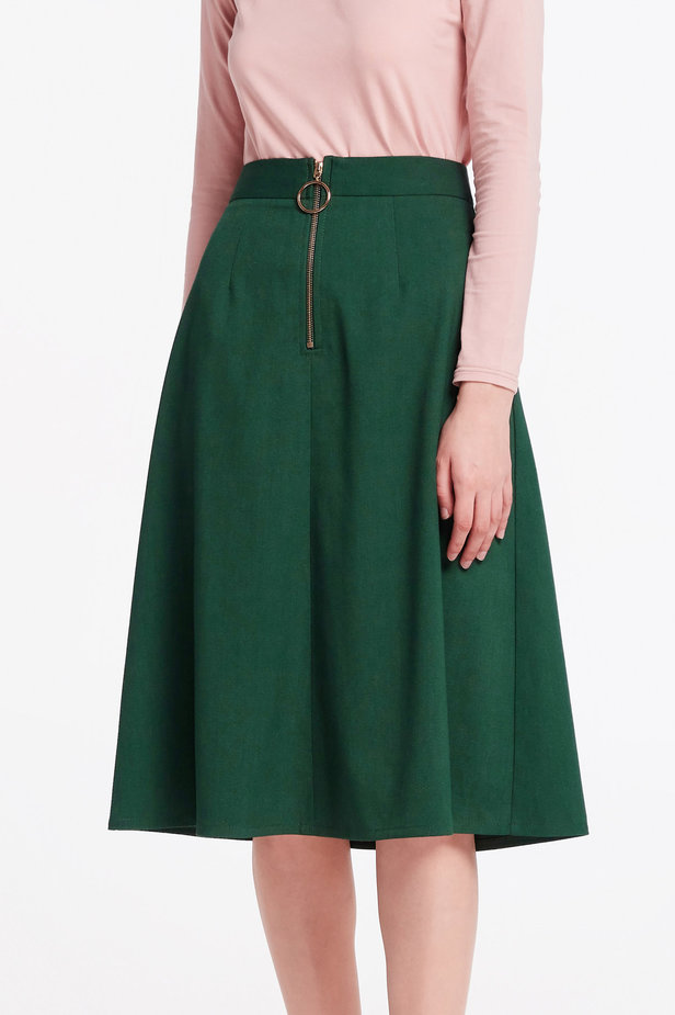 Green midi dress with a front zip photo 1 - MustHave online store