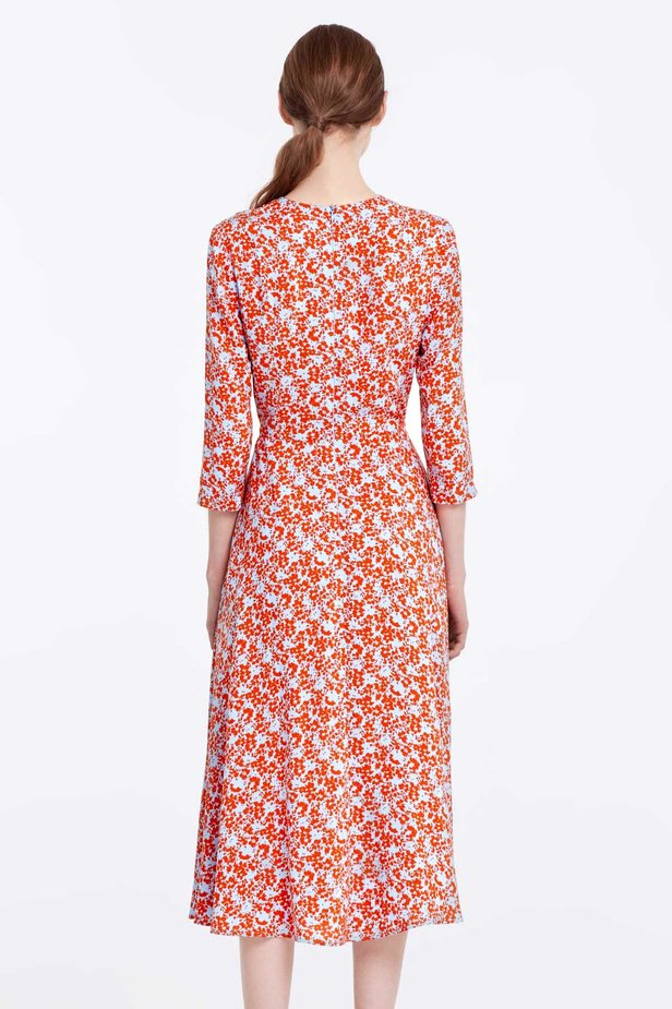 Midi blue dress with a floral print photo 6 - MustHave online store