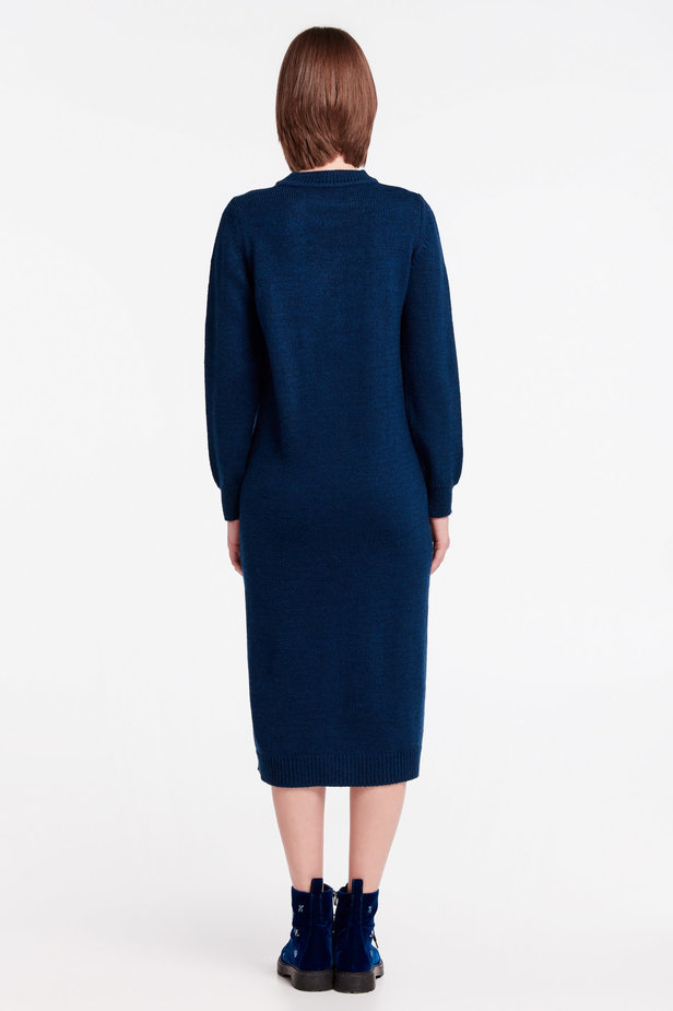 Dark-blue knit dress photo 5 - MustHave online store