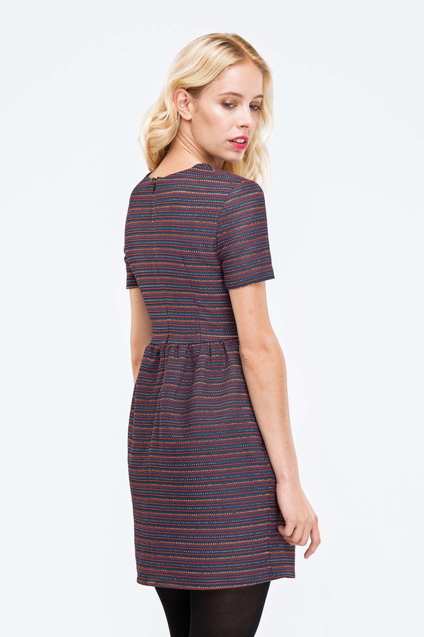 Above the knee striped dress with lurex photo 3 - MustHave online store