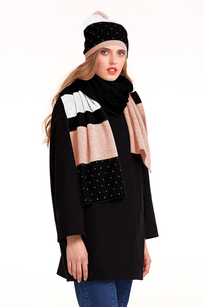 Black scarf with white and powder pink stripes