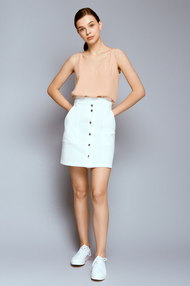 White denim mini skirt with buttons