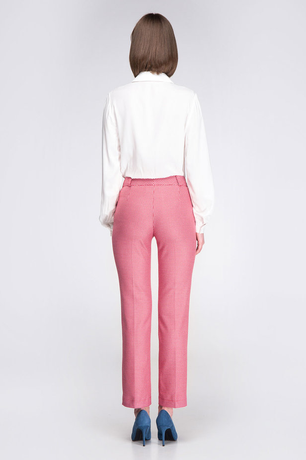 Pink-red houndstooth pants photo 7 - MustHave online store