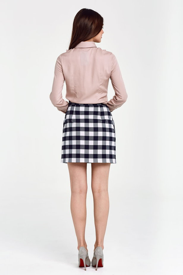 Blue and white checked mini skirt photo 4 - MustHave online store