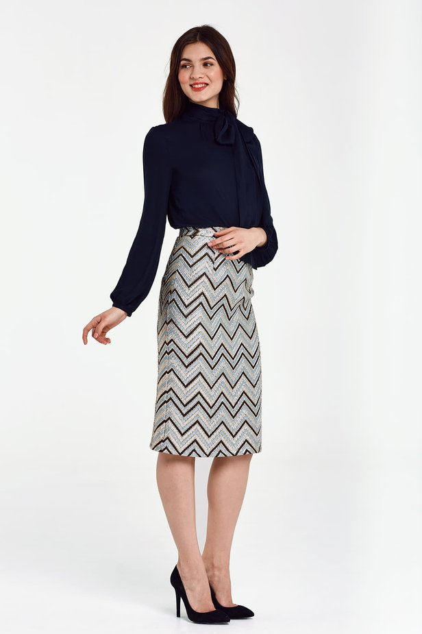 Blue skirt with black and gold zigzag below the knee photo 5 - MustHave online store