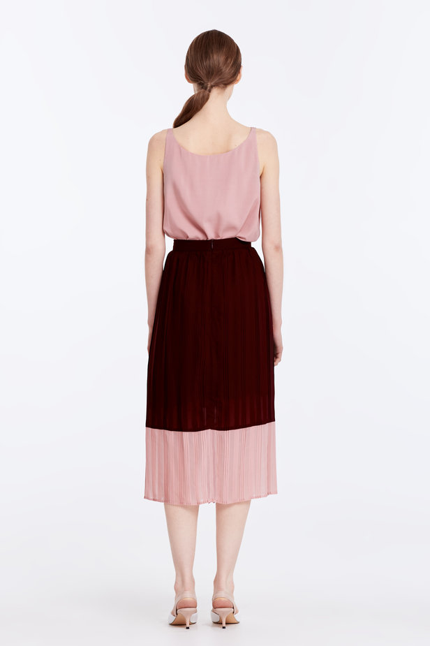 Below the knee pleated dark-red and powder pink skirt photo 7 - MustHave online store