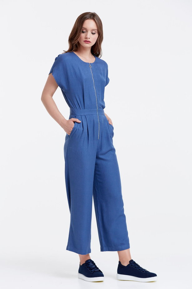 Blue jumpsuit with a zip photo 4 - MustHave online store
