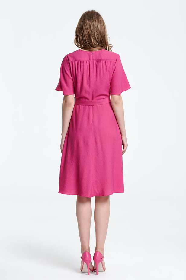 Below the knee wrap fuschia dress photo 3 - MustHave online store