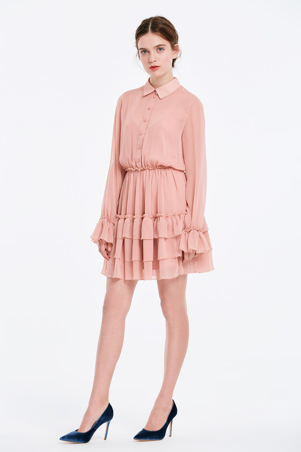Powder pink dress with flounces photo 3 - MustHave online store