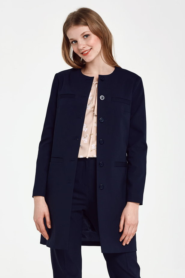 Long dark blue jacket photo 1 - MustHave online store