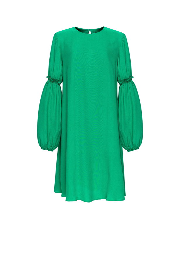 Loose-fitting green dress with ruffles on the sleeves photo 8 - MustHave online store