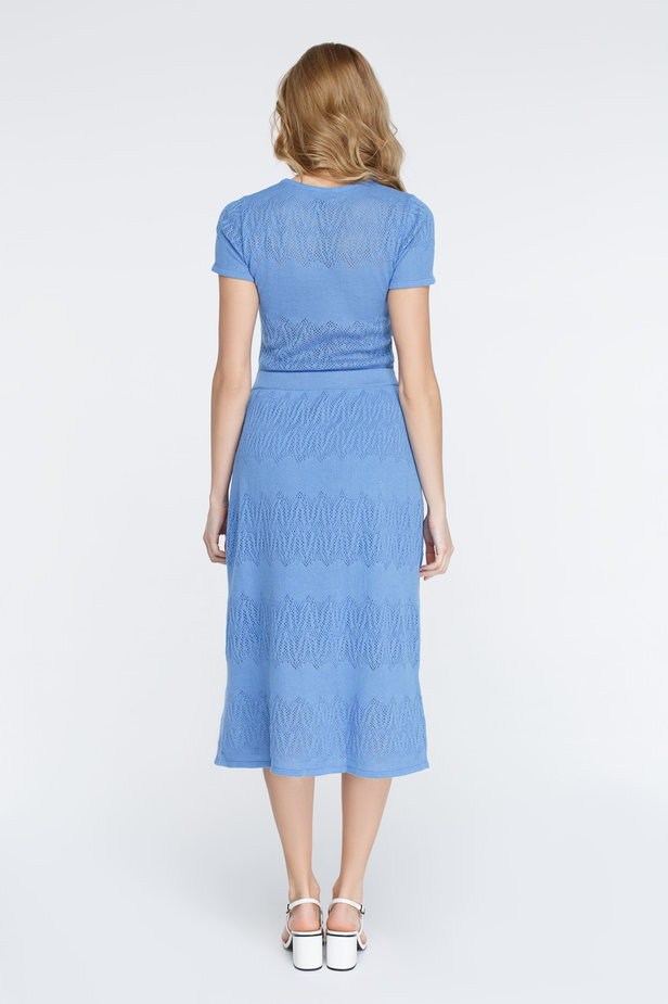 Blue knitted dress photo 6 - MustHave online store