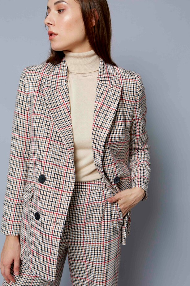Check double-breasted straight cut jacket