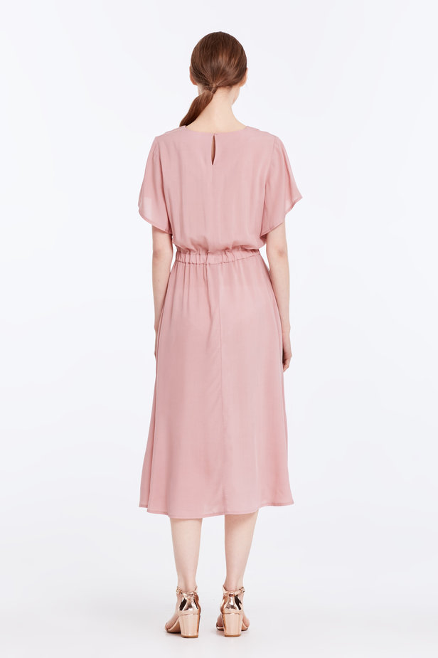 Midi powder pink dress with an elastic waistband photo 5 - MustHave online store