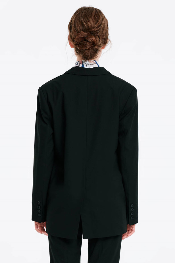 Black jacket with an open cut photo 3 - MustHave online store