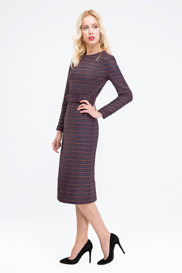 Striped column dress with lurex and slit photo 2 - MustHave online store