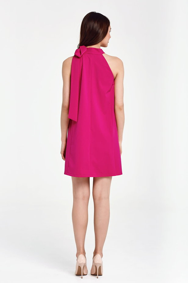 Fuschia swing dress with a bow photo 3 - MustHave online store