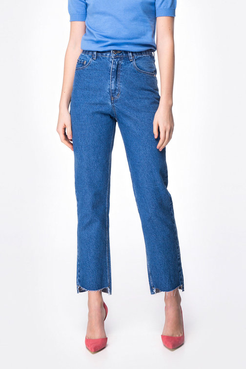 Dark-blue asymmetric jeans
