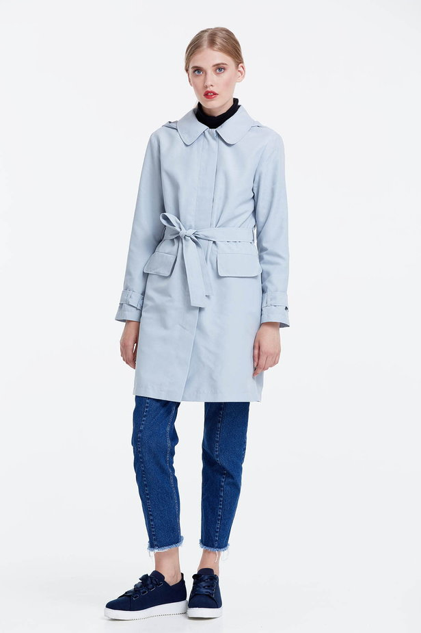 Grey trenchcoat with a hood photo 2 - MustHave online store