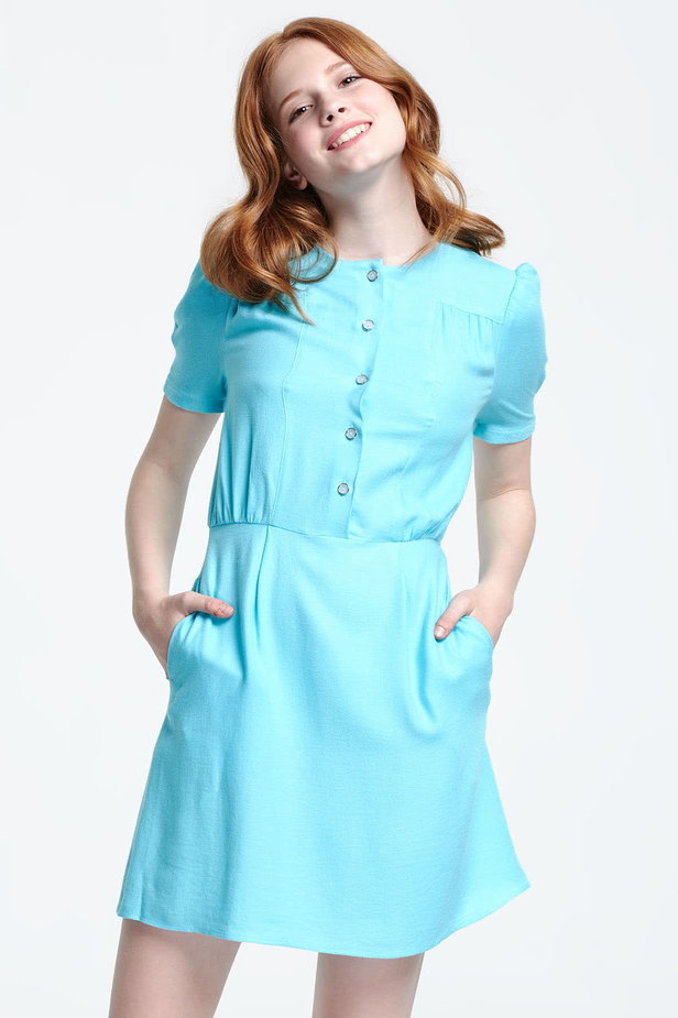 Blue shirt dress with balloon sleeves photo 1 - MustHave online store