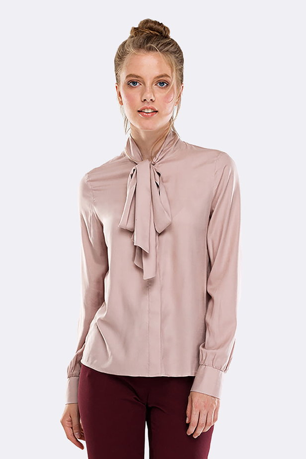 Beige shirt with a bow photo 1 - MustHave online store