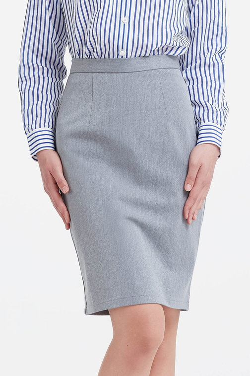 Above the knee grey pencil skirt