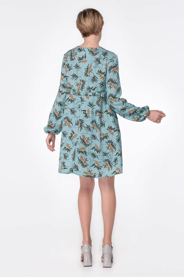 Blue dress with berry print photo 5 - MustHave online store