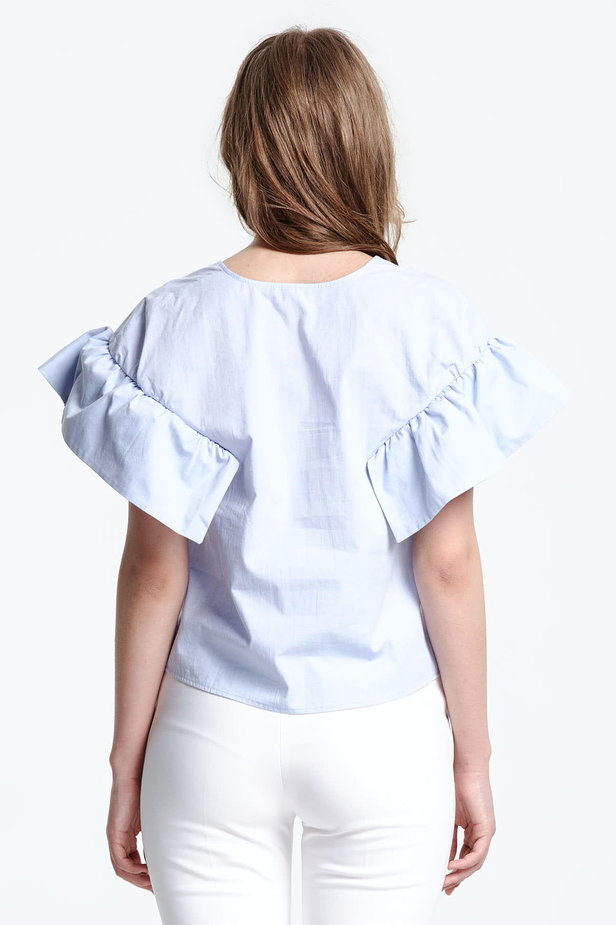 Swing blue top with flounced sleeves photo 5 - MustHave online store