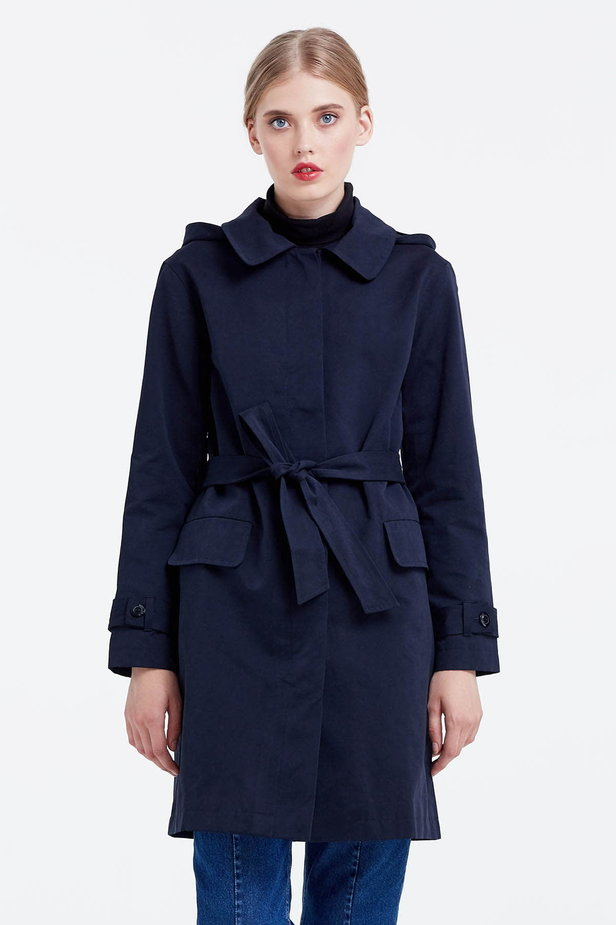 Dark blue trenchcoat with a hood photo 1 - MustHave online store