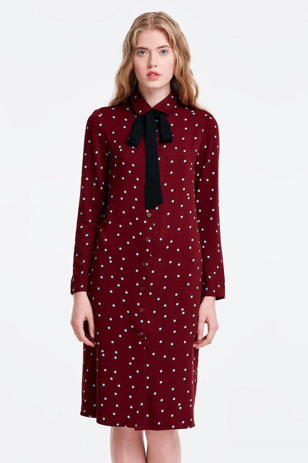 Wine dress with a blue polka dot print and a black bow photo 1 - MustHave online store