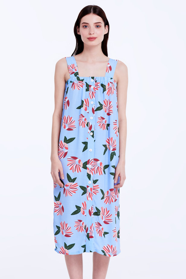 Blue sundress with a floral print and buttons photo 1 - MustHave online store