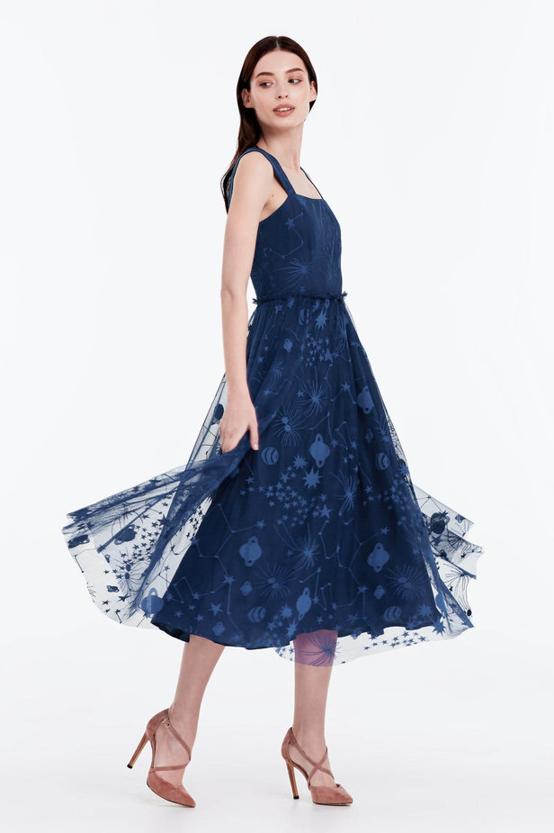 Blue dress with a space pattern photo 7 - MustHave online store