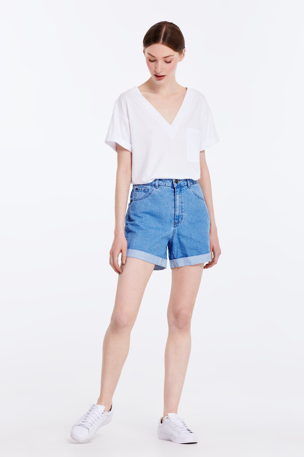Blue denim shorts photo 4 - MustHave online store