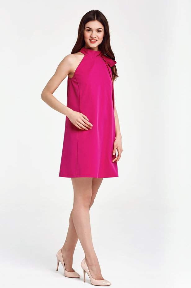 Fuschia swing dress with a bow photo 5 - MustHave online store