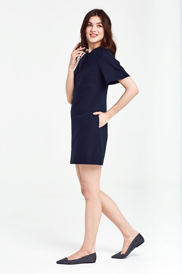 Dark blue dress with flared sleeves above the knee photo 3 - MustHave online store