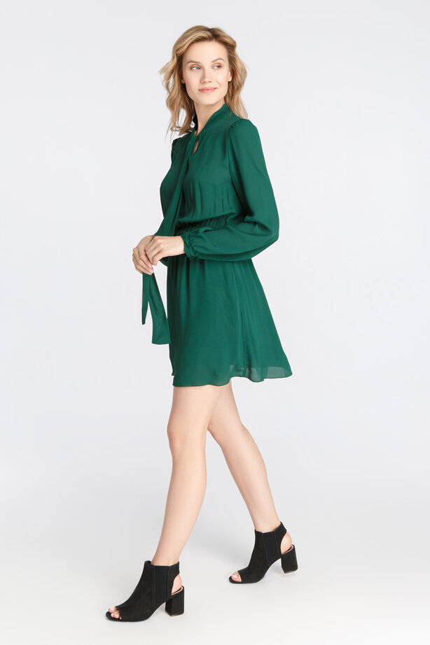 Green dress with long sleeves above the knee