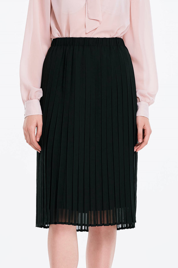 Below the knee pleated black skirt photo 1 - MustHave online store